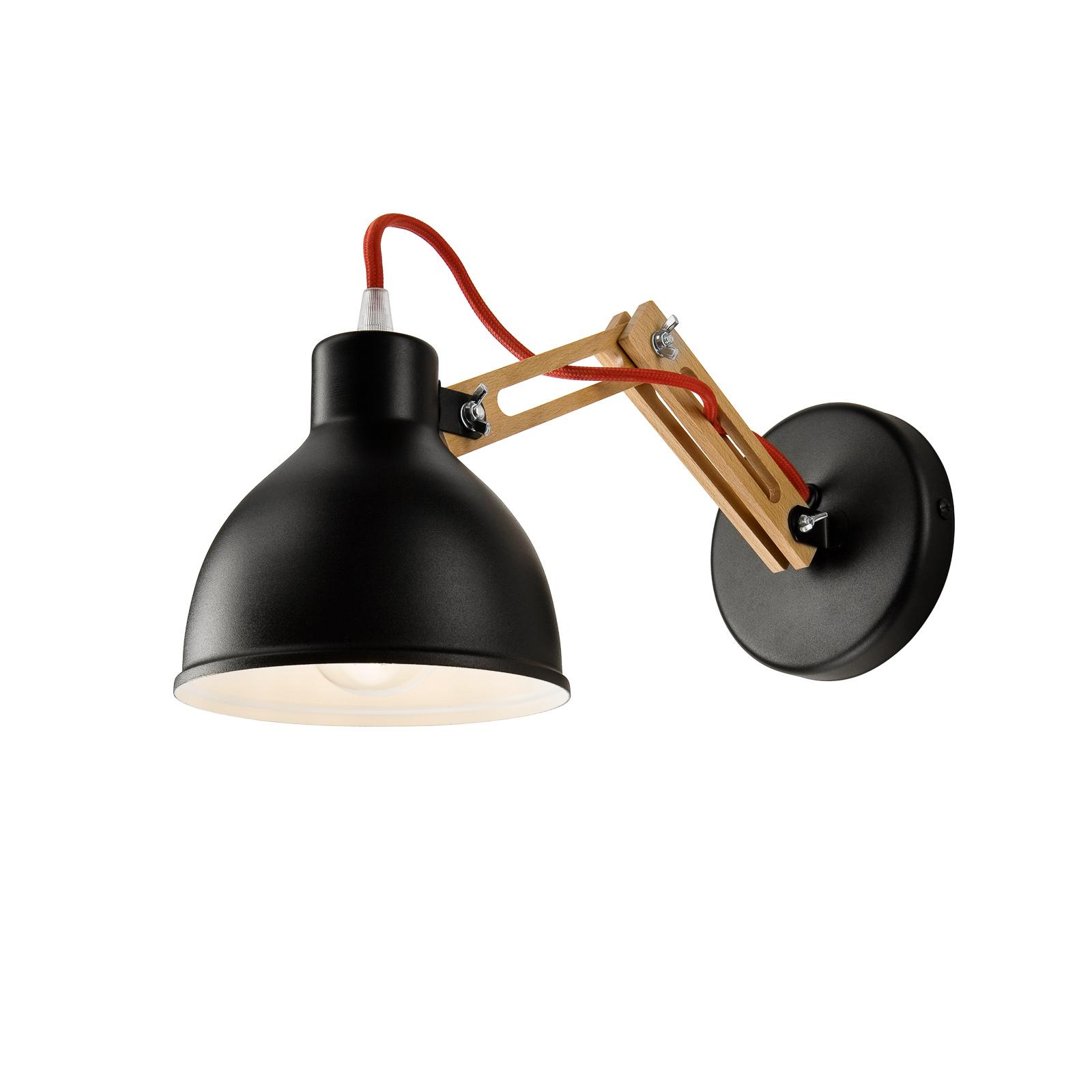 Skansen væglampe, justerbar træarm, sort