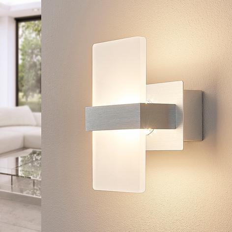 Applique a LED Yorick, paralume in plastica bianco