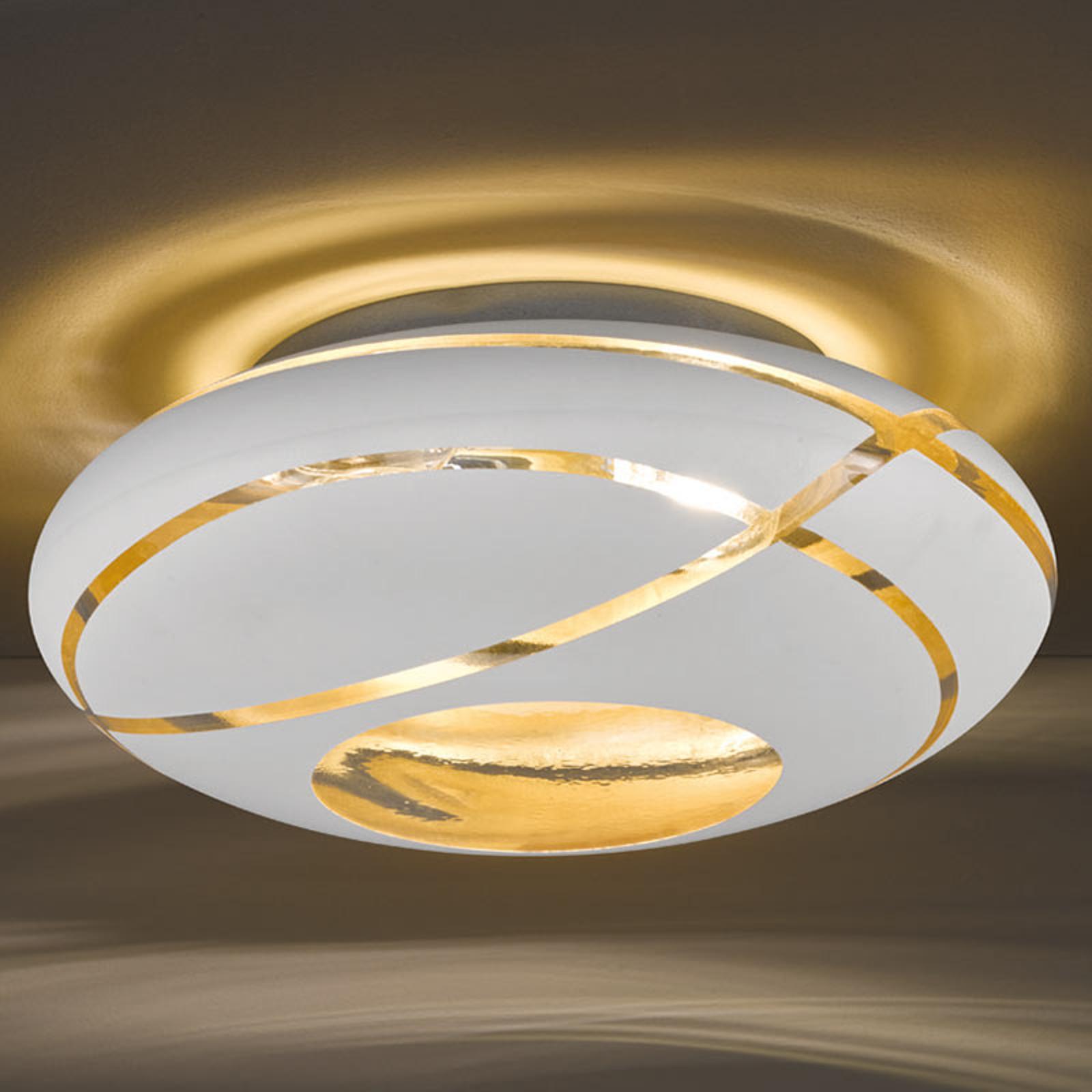 Szklana lampa sufitowa Farona ze złotym wnętrzem
