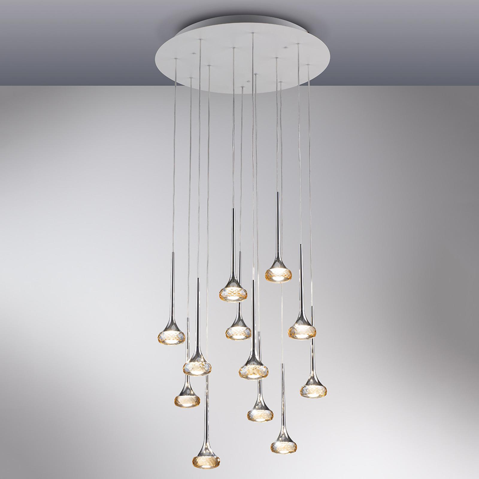 Lampada a sospensione LED Fairy, 12 luci, ambra