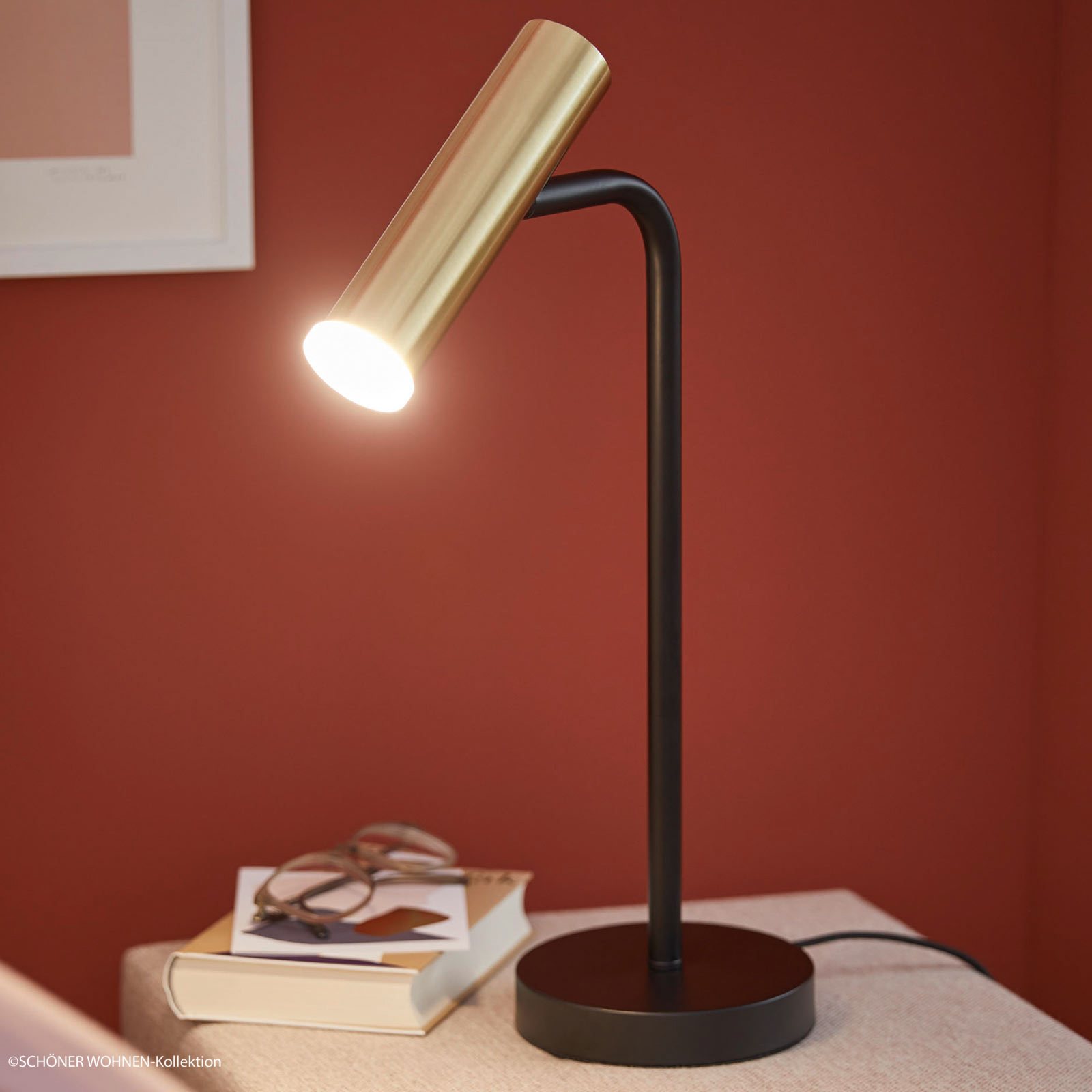 Schöner Wohnen Stina LED-bordlampe, gylden