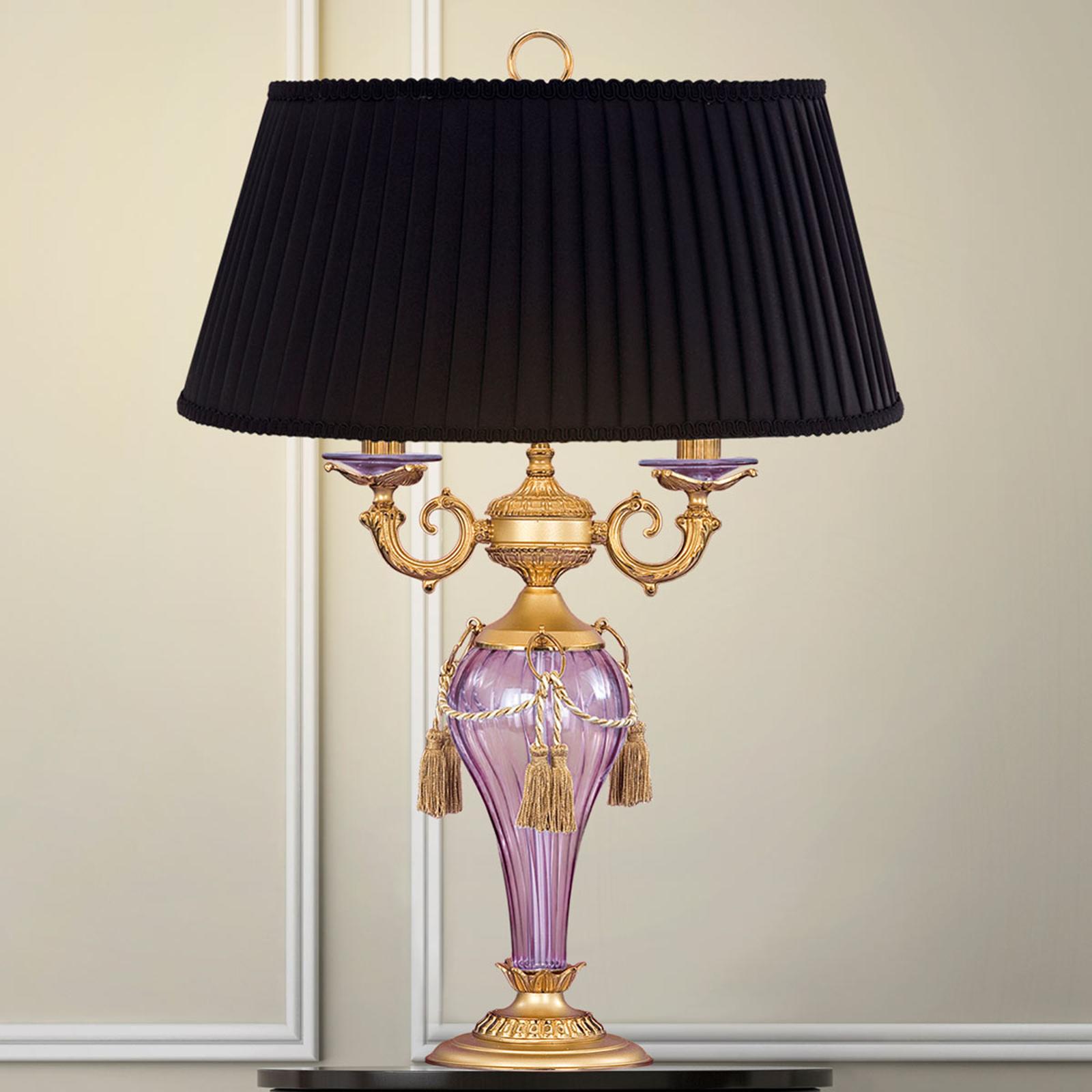 Bordlampe Hero 72 cm sort, mat guld, klar violet