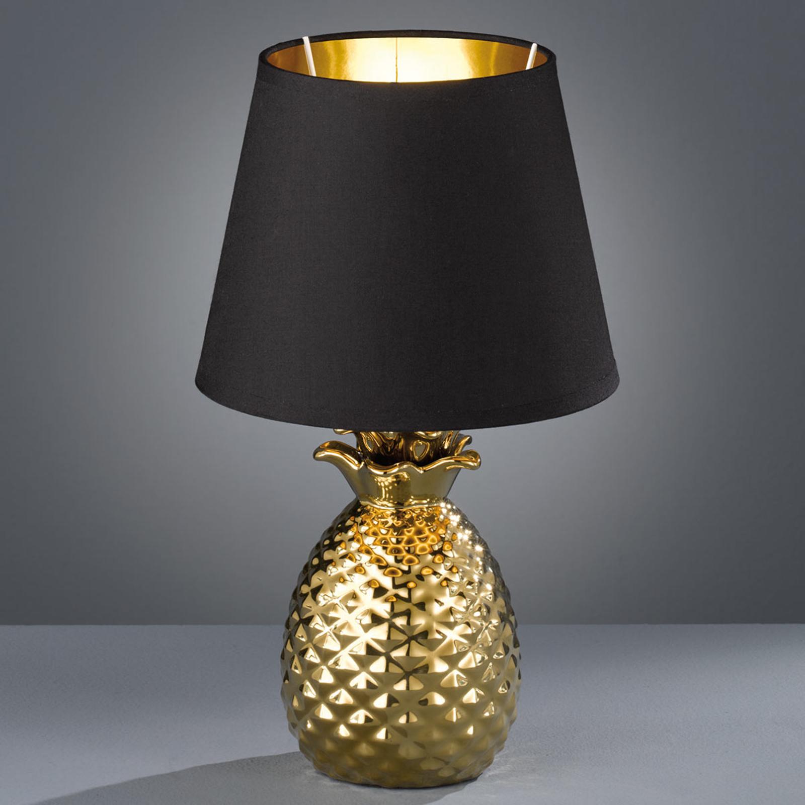 Ståtlig bordslampa i keramik Pineapple, guld-svart