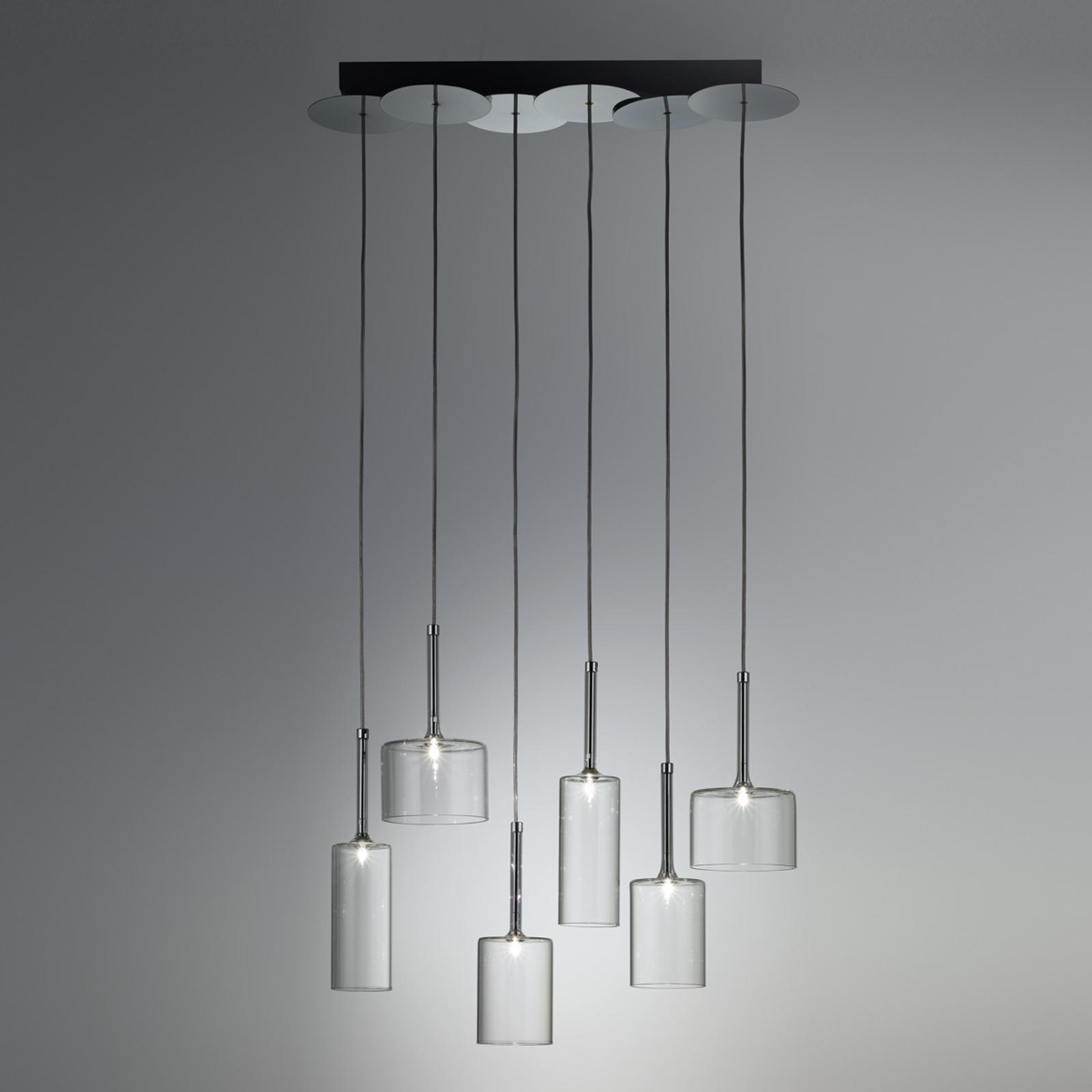 Lampada a sospensione Spillray di vetro a sei luci