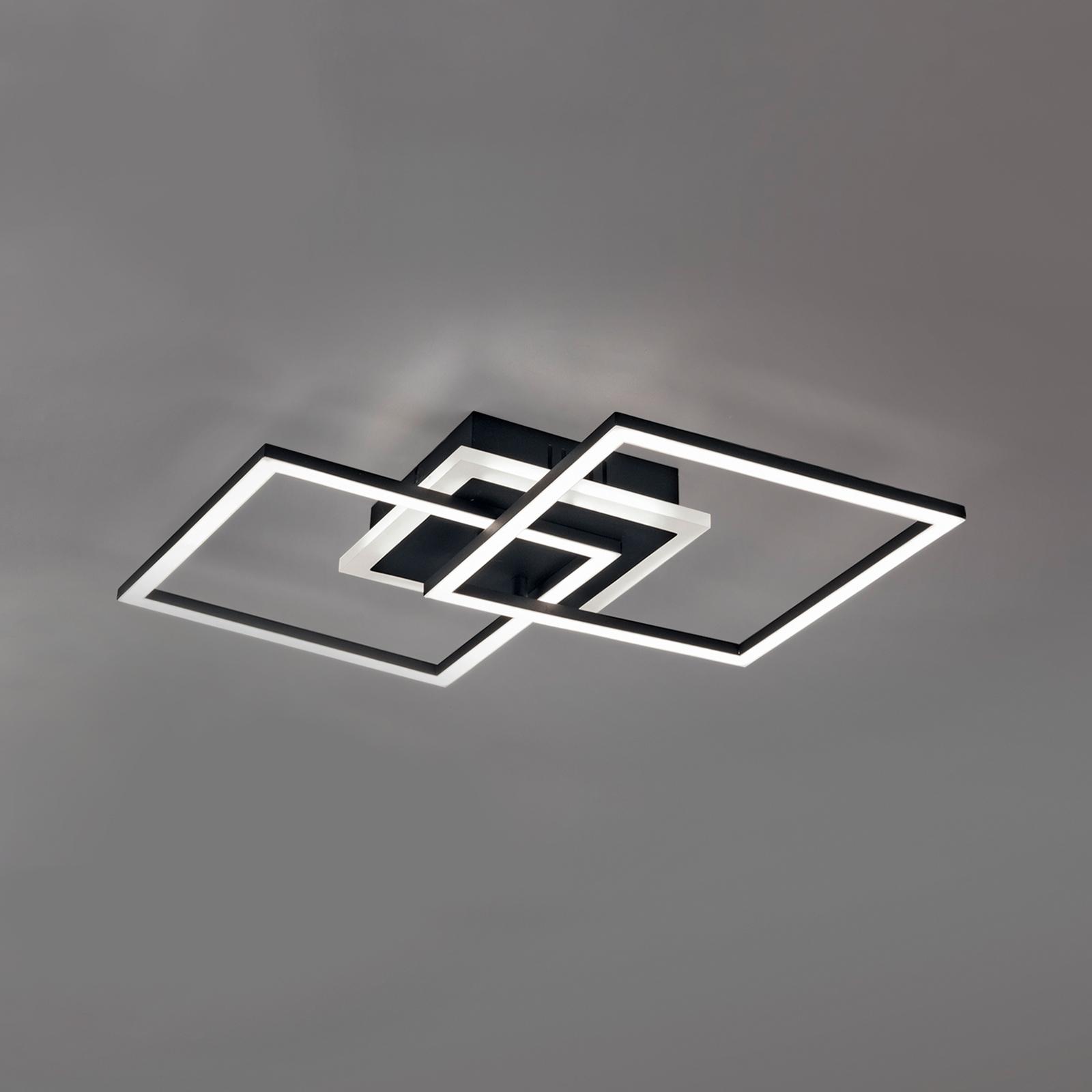 LED-Deckenleuchte Venida, schwarz, zwei Quadrate