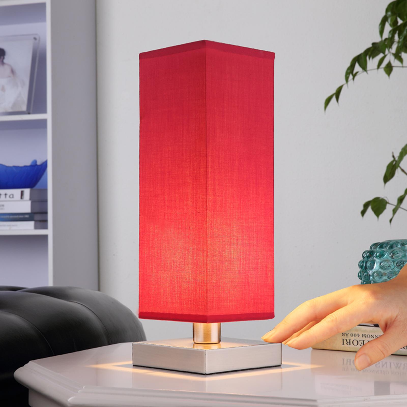 Rote Nachttischleuchte Julina mit Stoffschirm