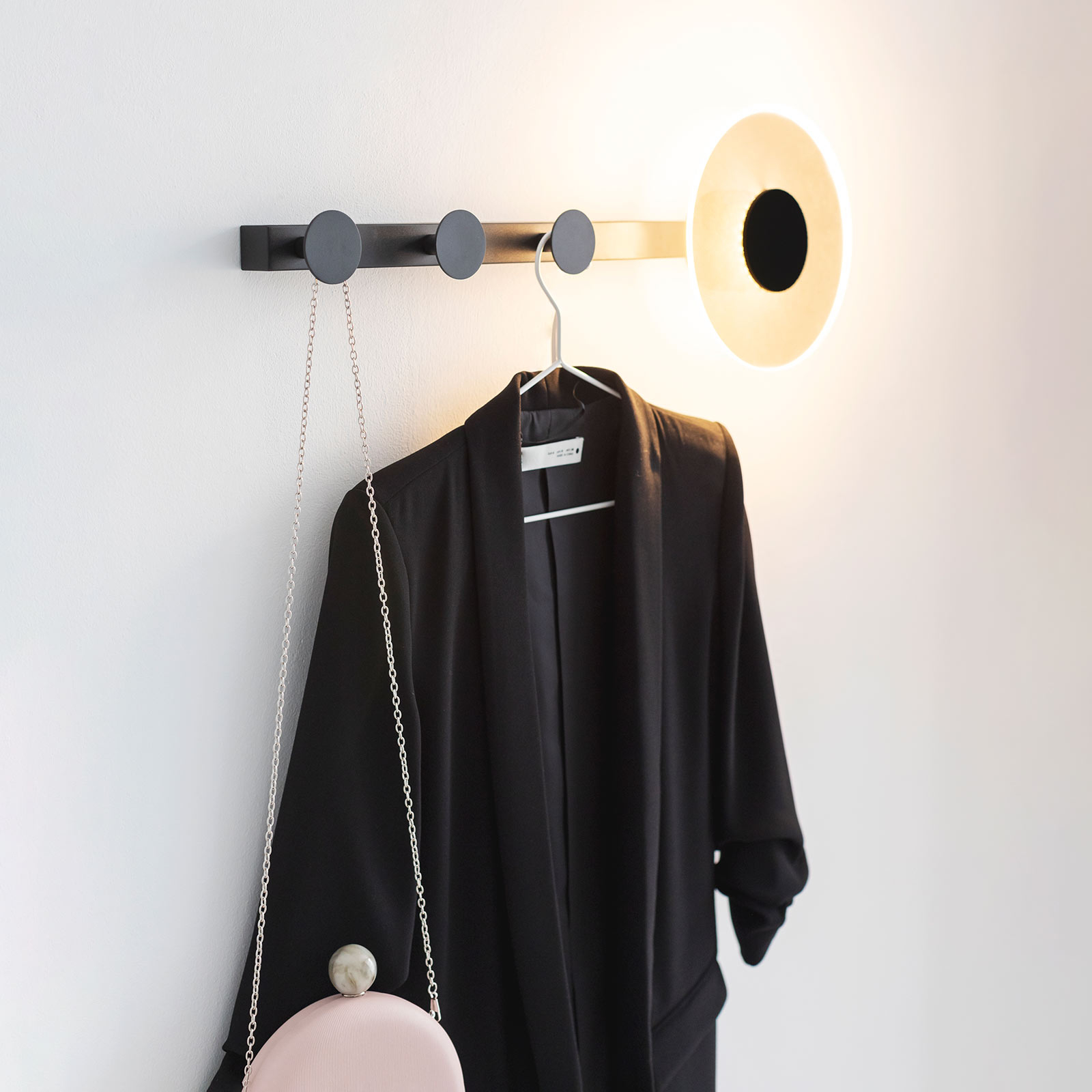 LED-Wandleuchte Venus, mit Kleiderhaken, schwarz