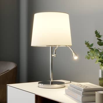 Stoff-Tischleuchte Benjiro mit LED-Leselampe