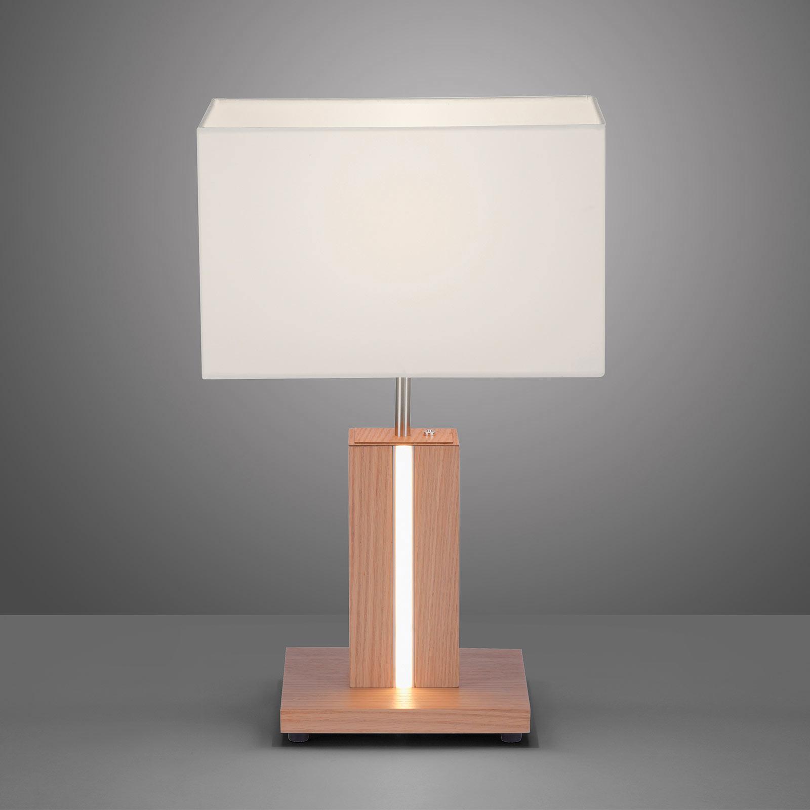 Lampe à poser Amanda à 2 lampes en aspect bois