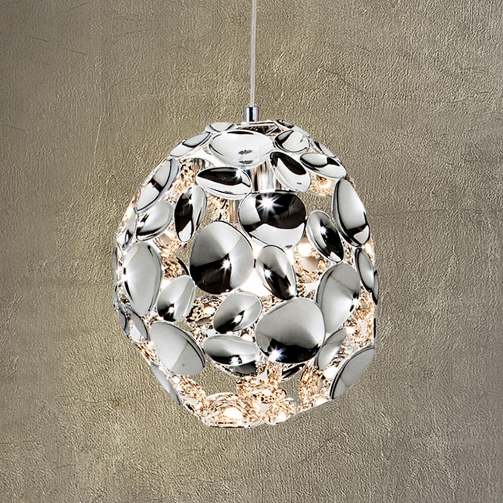 LED-hengelampe Narisa, Ø 18 cm krom