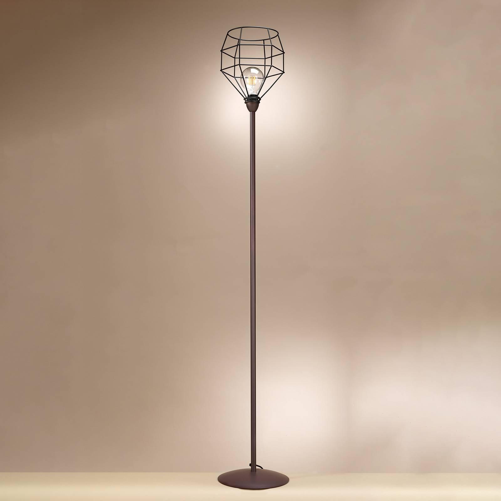 Lampa stojąca Spider czarna z klatkowym kloszem