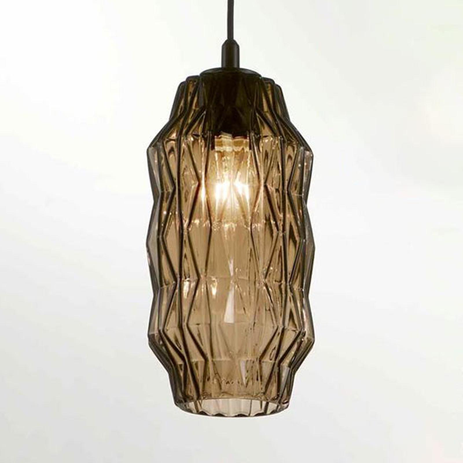 Hanglamp origami van glas, grijs-bruin