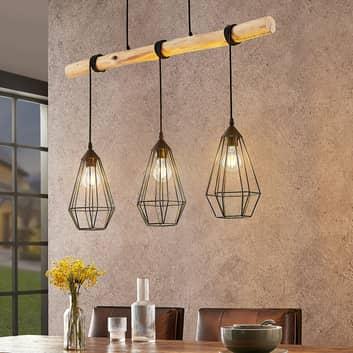 Lindby Eldarion suspension poutres bois, 3 lampes