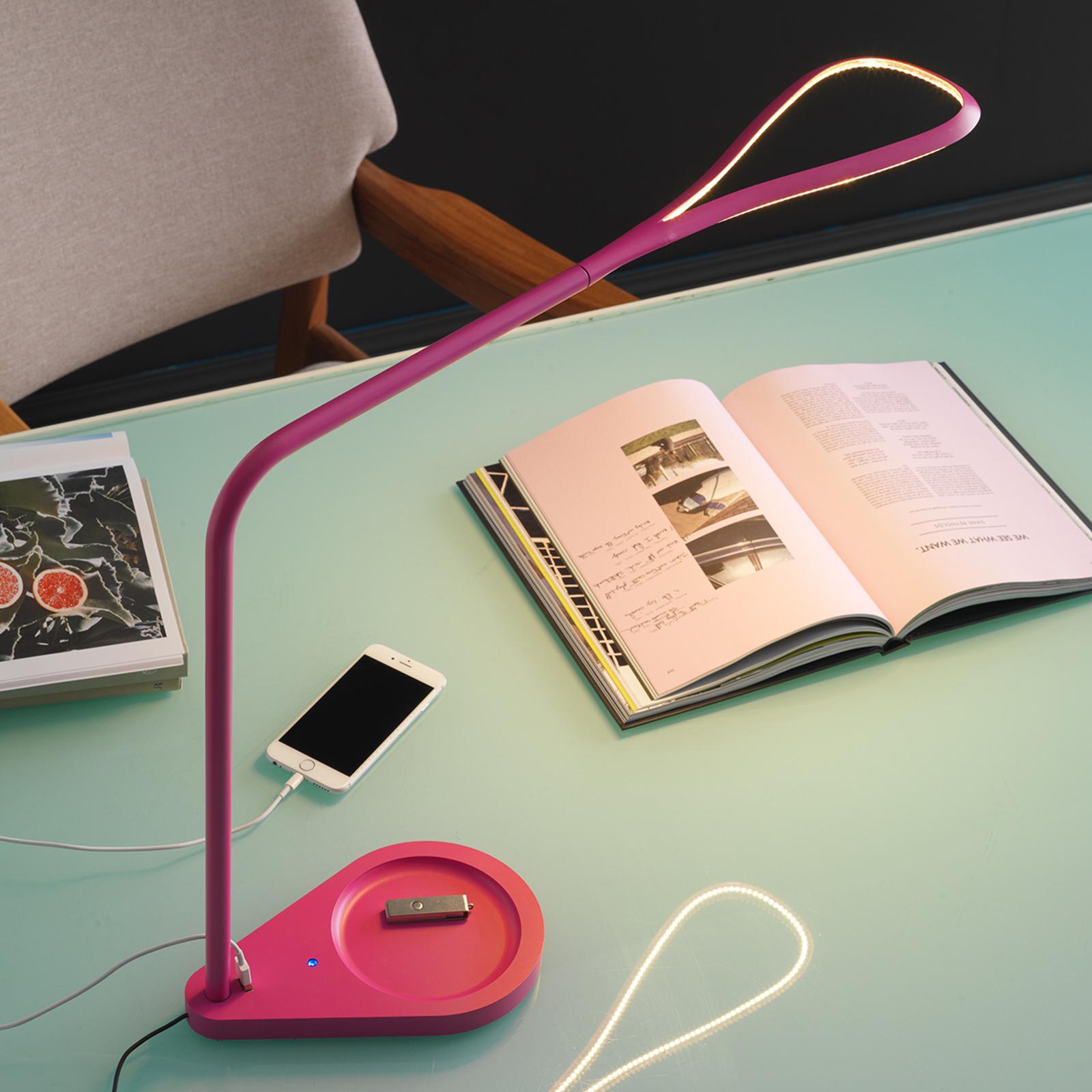 Różowa lampa stołowa LED Kinx