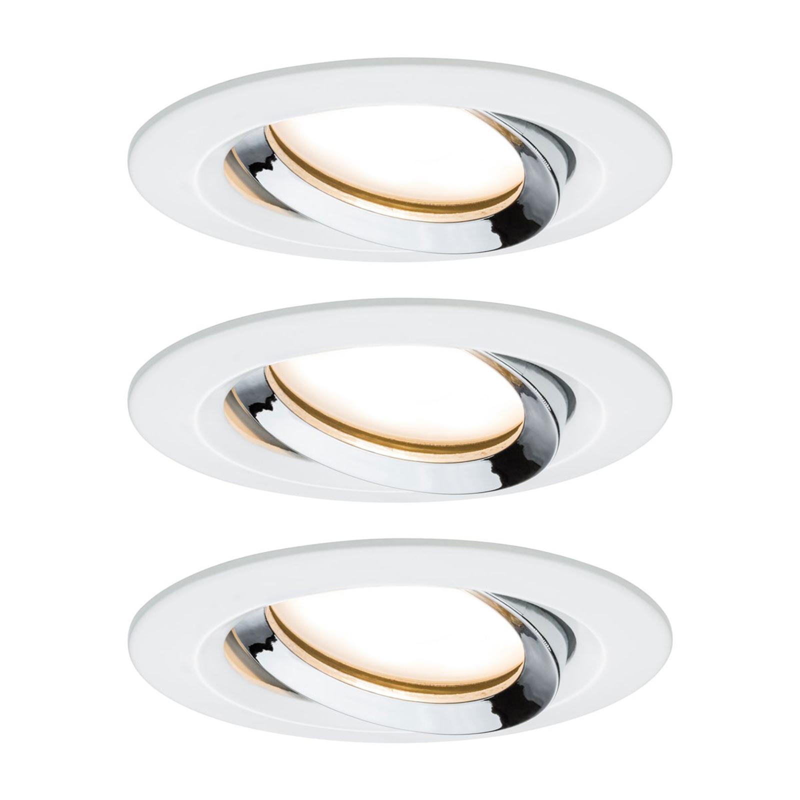 Paulmann Nova Plus 3-pack LED-spot rund vitt krom