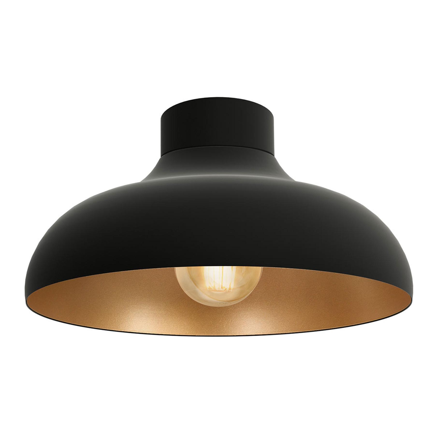 Lampa sufitowa Basca, czarna, miedziana wewnątrz