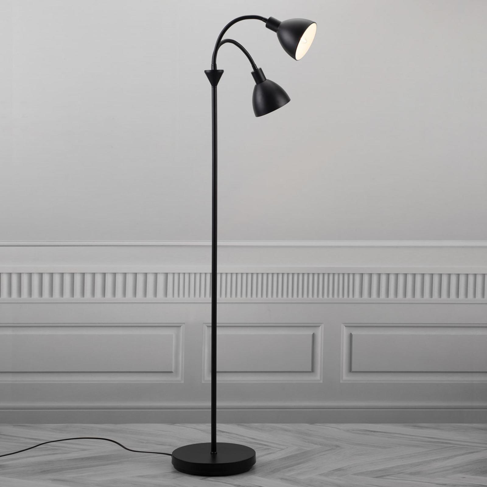 2-punktowa lampa stojąca Ray z czarnego metalu