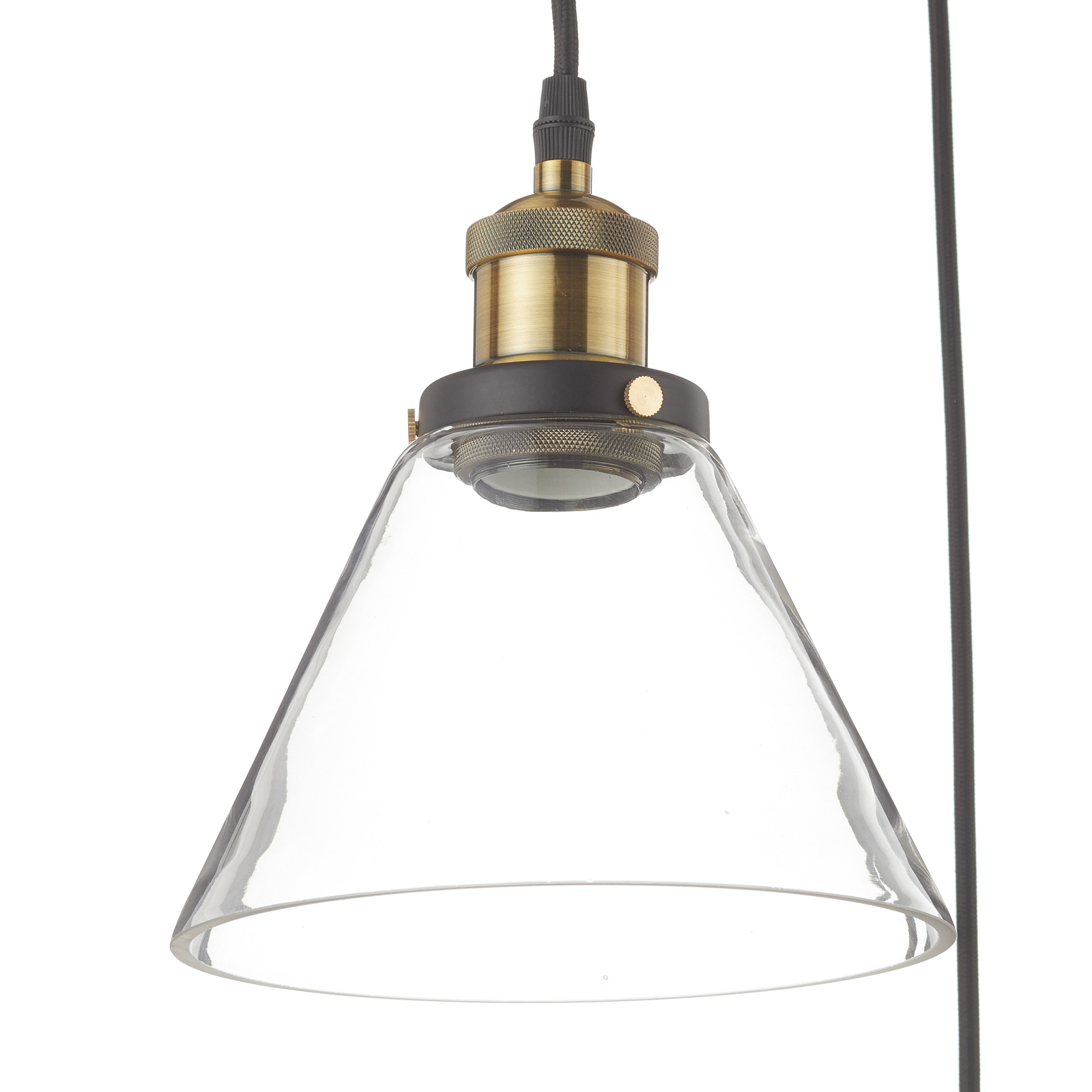 Suspension LA034 E27 3 lampes laiton/transparente