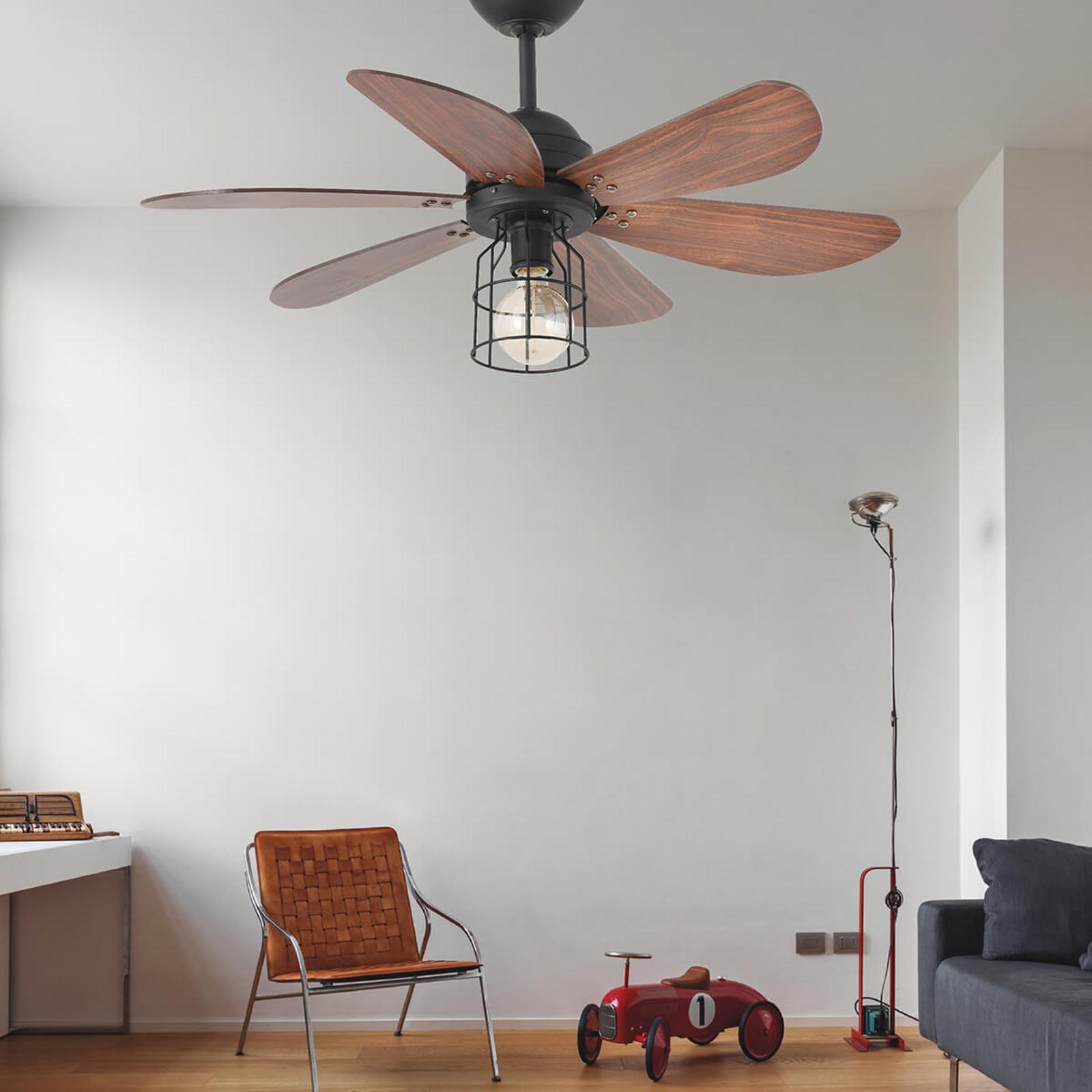Ventilateur Chicago avec lampe en forme de cage
