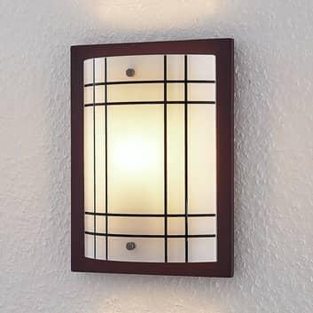 Dřevěné nástěnné světlo Thees skostkovaným sklem