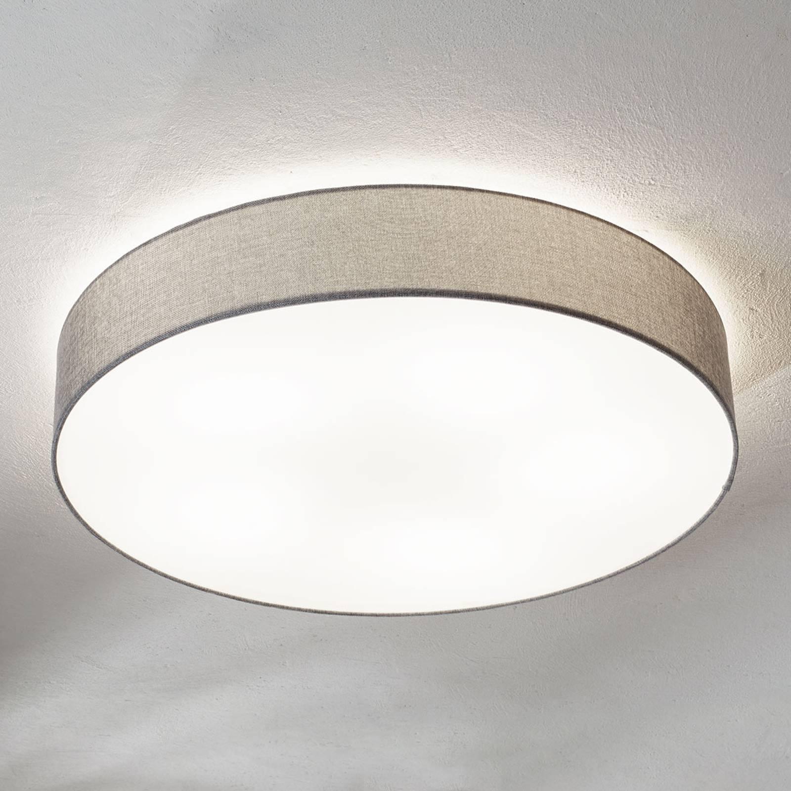 Grijze plafondlamp Pasteri met linnen kap 76 cm