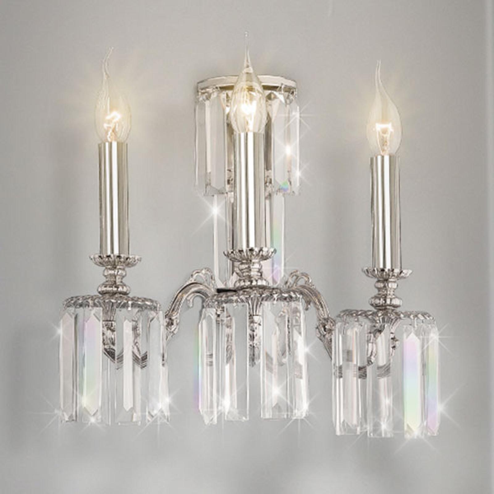 Vegglampe Sevilla med krystallglass, 3 lyskilder