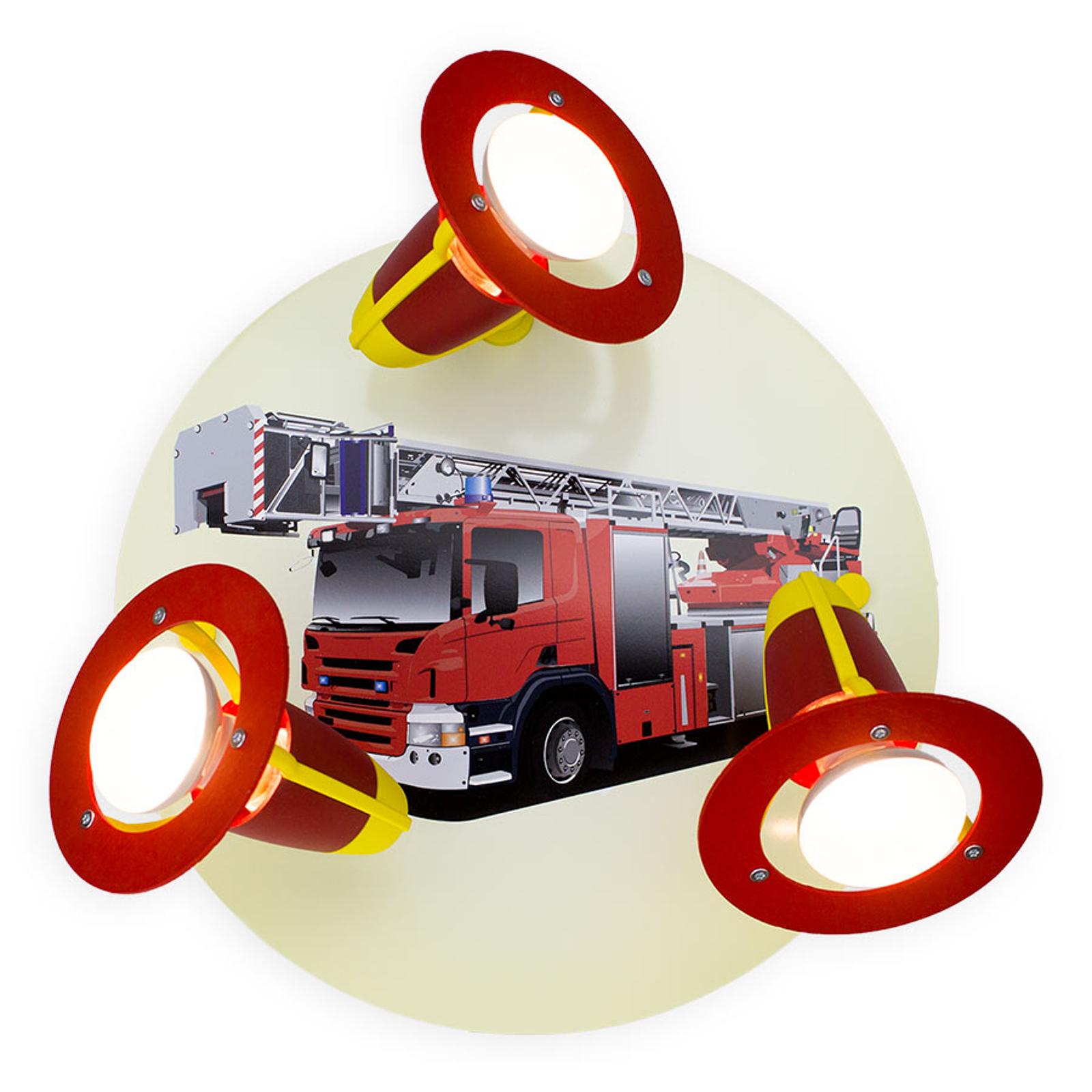 Deckenleuchte Feuerwehrauto, rot-gelb, dreiflammig