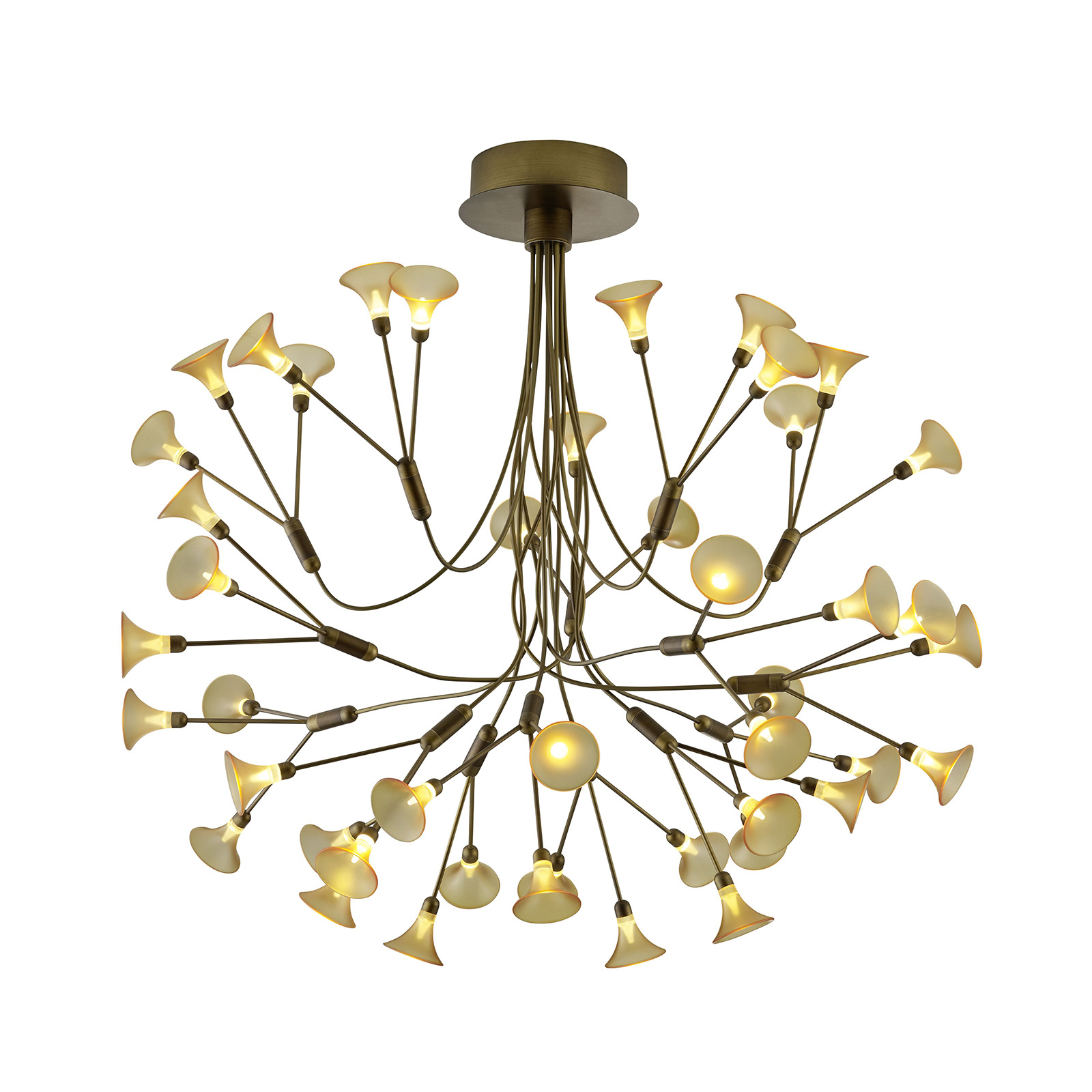 B-Leuchten Fleur suspension LED, laiton ancien