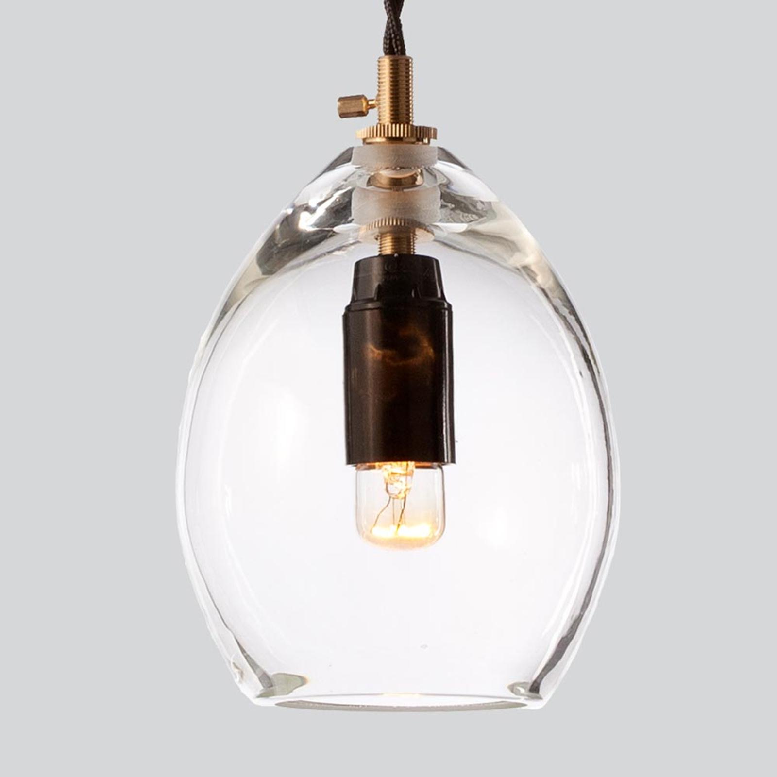 Klar designerpendellampe i glass Unika, 10.5 cm