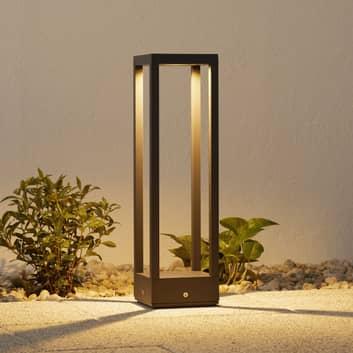 LED-sockellampa Carlota, mörkgrå, 50 cm