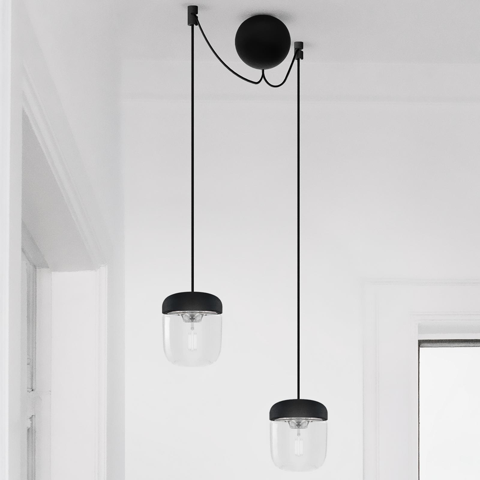 Czarno-stalowa lampa wisząca Acorn, 2-punktowa
