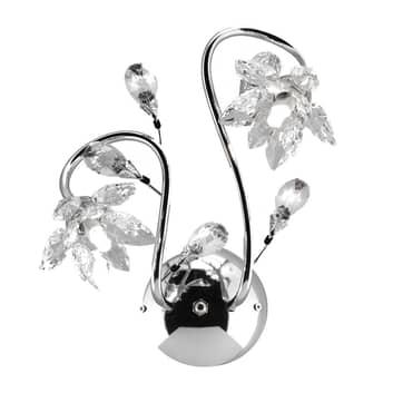 Ninfea væglampe i krom med krystalblomster
