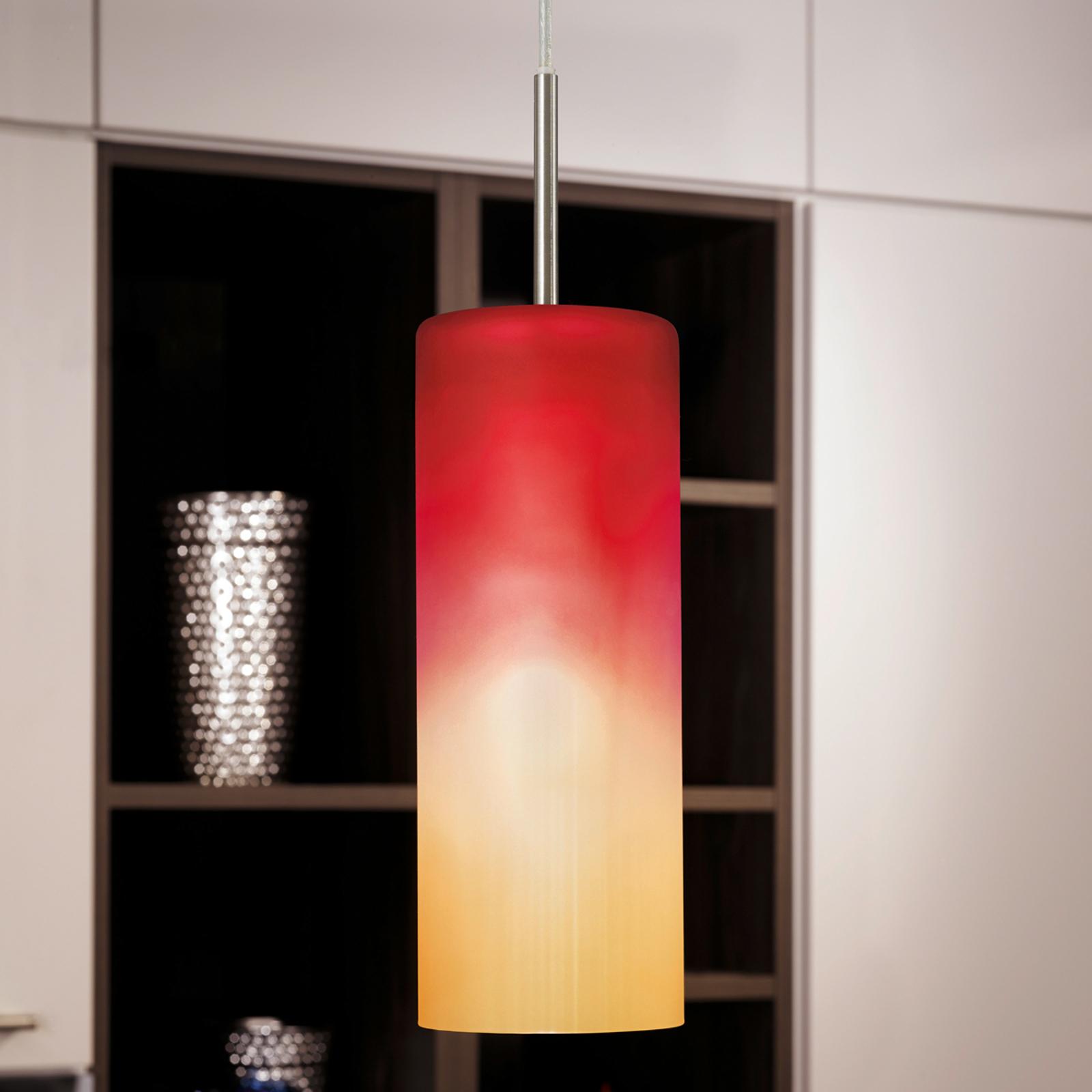 Závesná lampa Troy v červenej a oranžovej_3031185_1