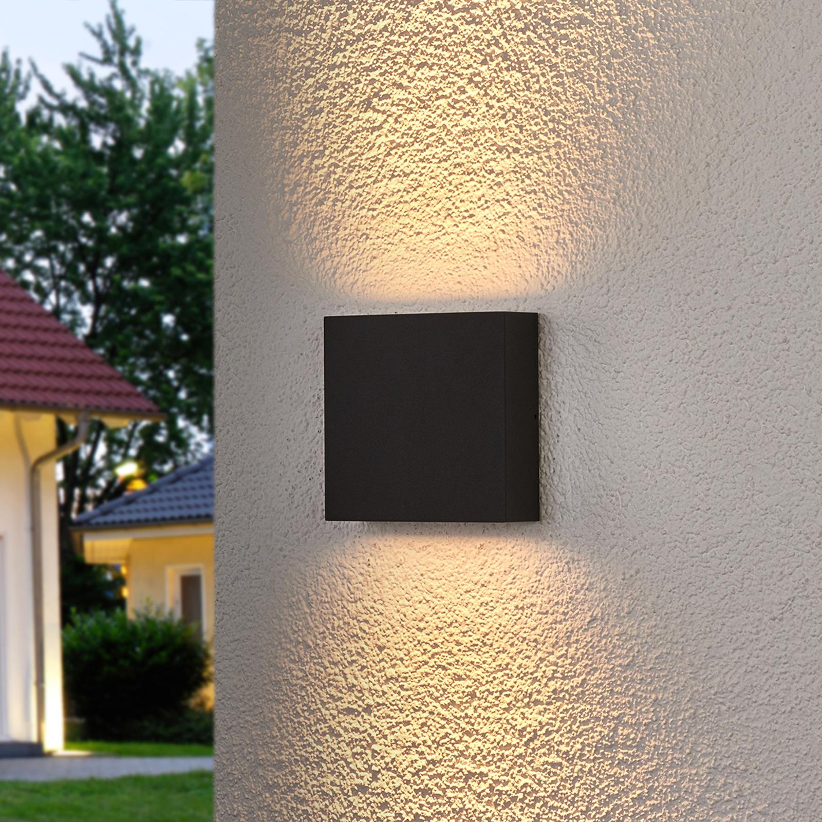 Firkantet LED-udendørsvæglampe Trixy i grafitgrå