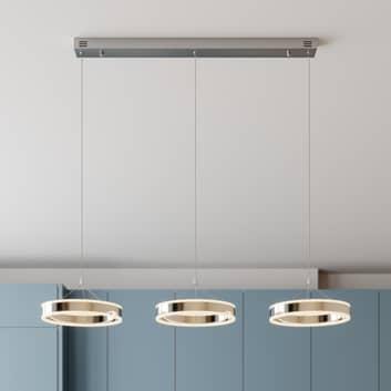 Lámpara colgante LED Lyani, 3 anillos, horizontal