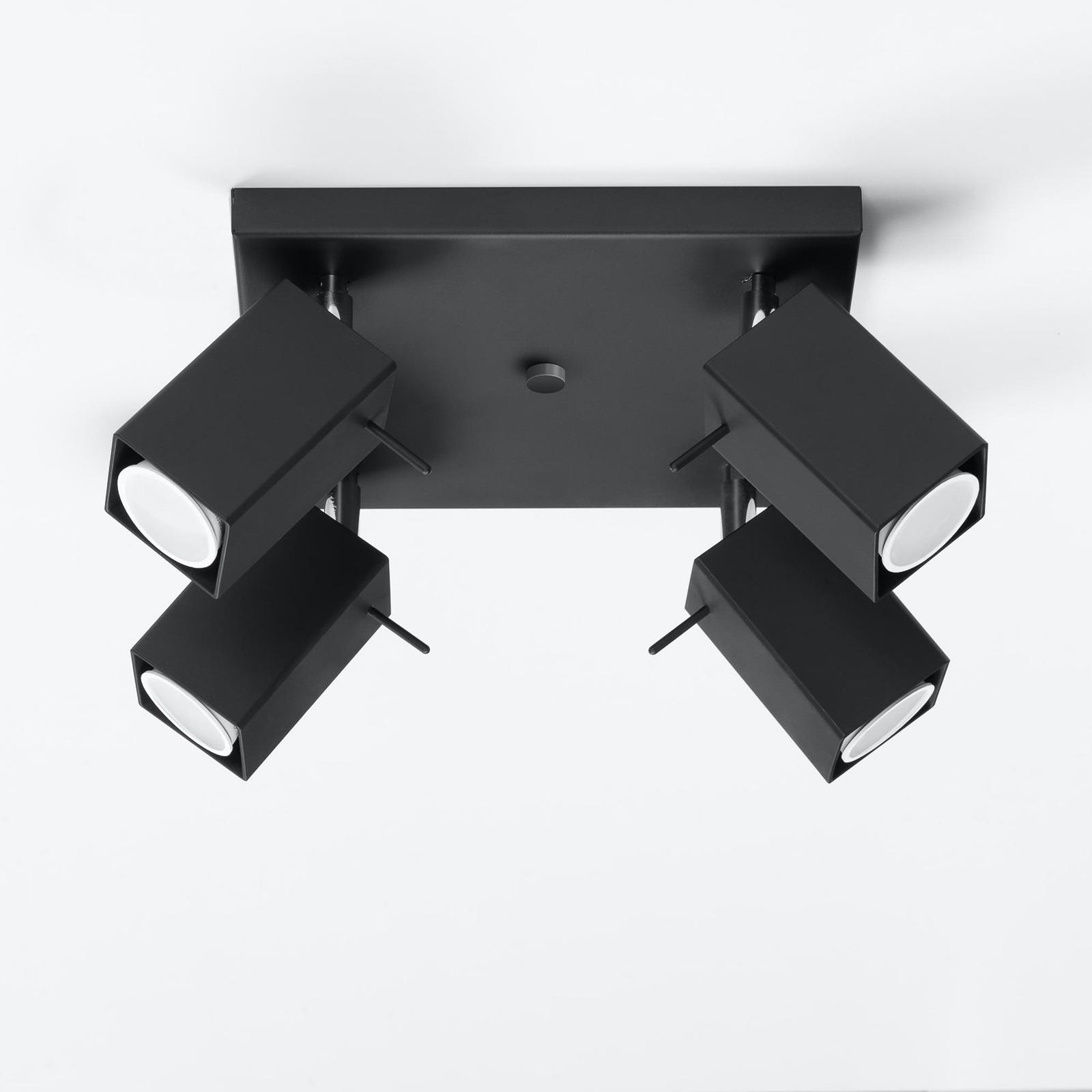 Deckenstrahler Square, schwarz vierflammig Quadrat