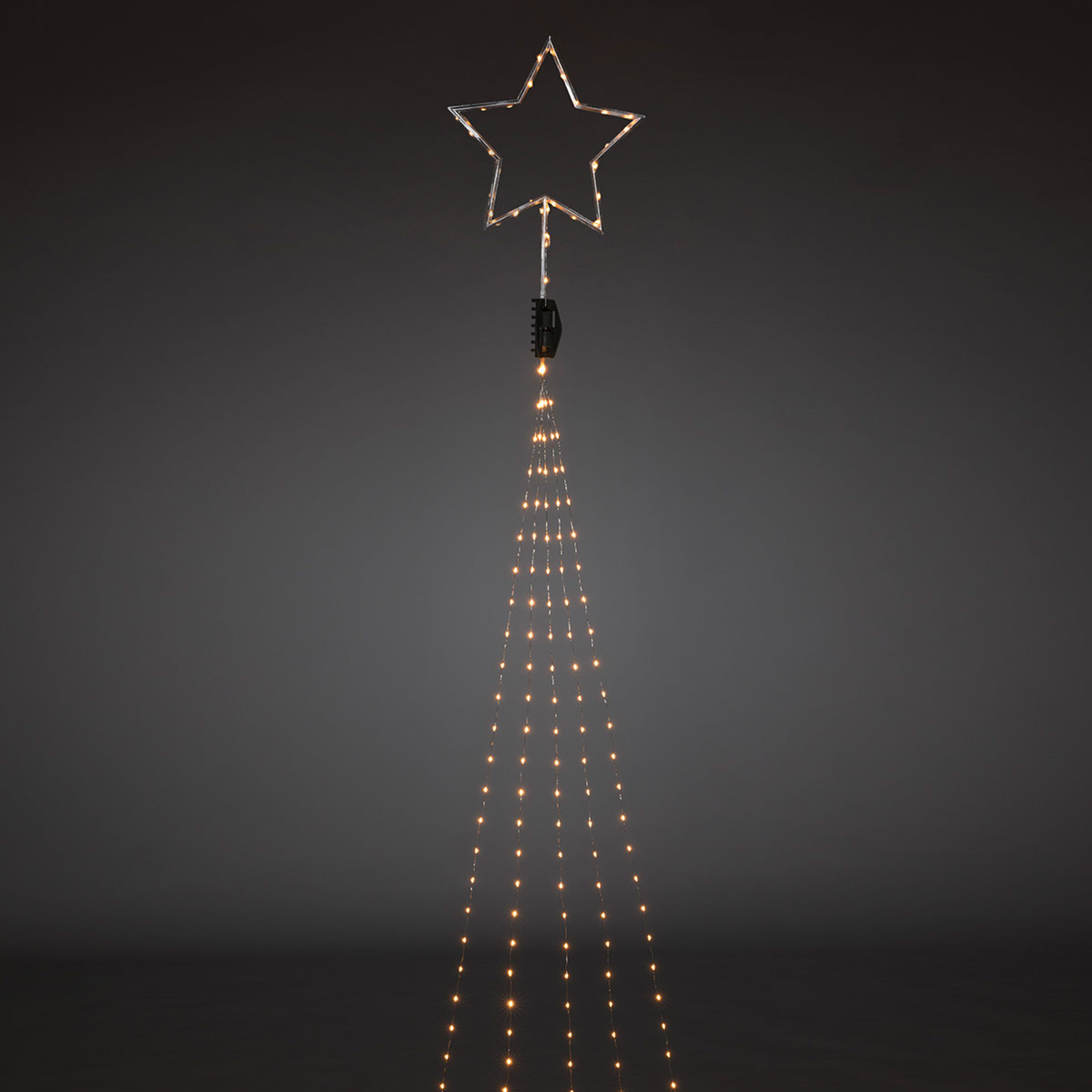 Topstjerne i sølv - LED trælyskæde 274 lyskilder