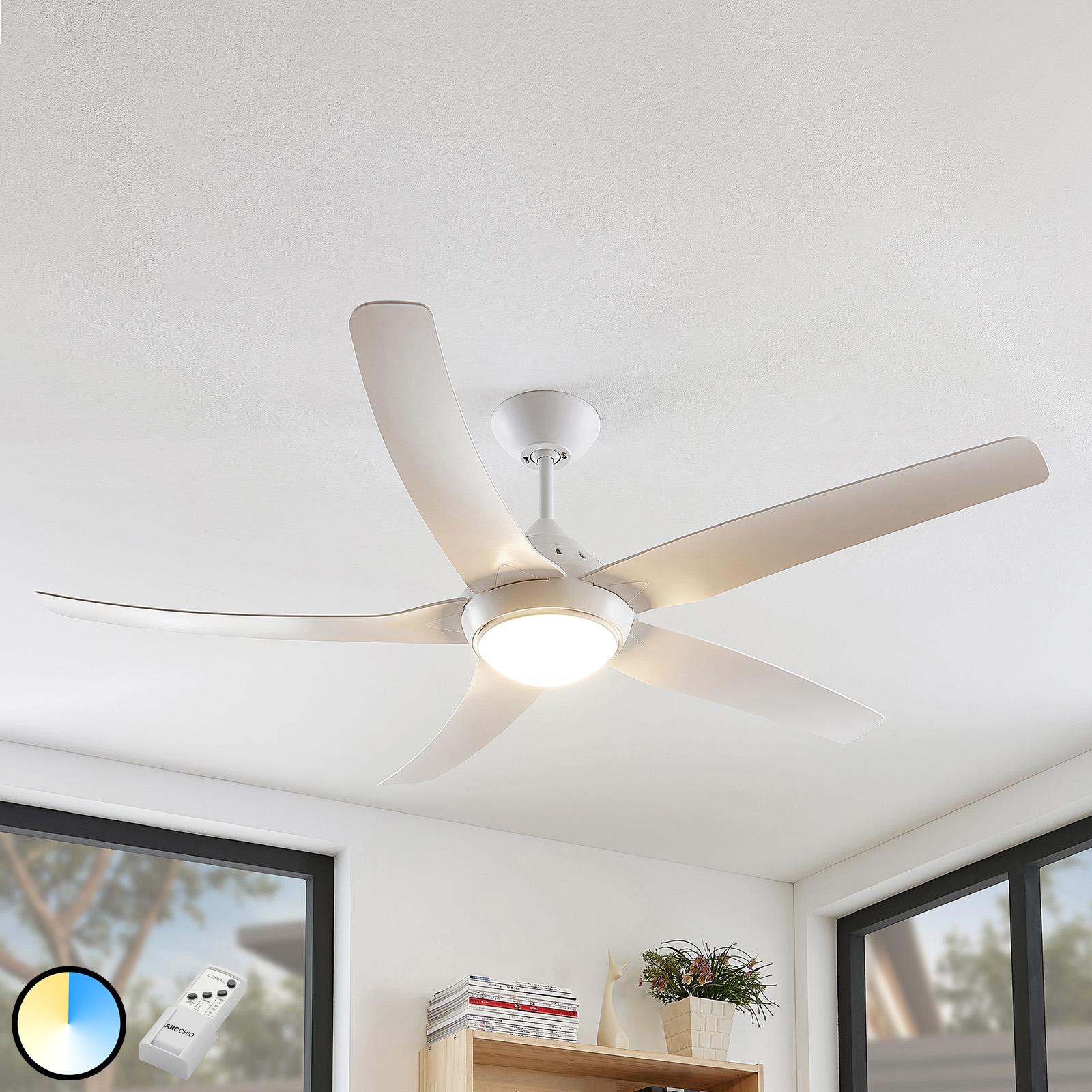 Arcchio Dora ventilatore LED a 5 pale, bianco
