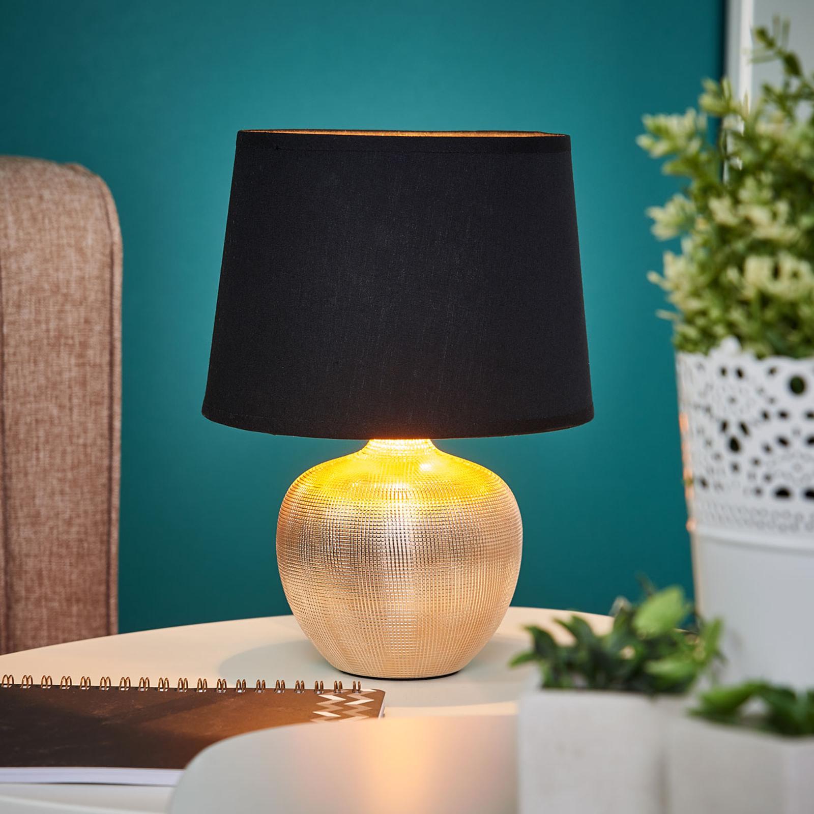 Schwarzgoldene Tischlampe Thorina