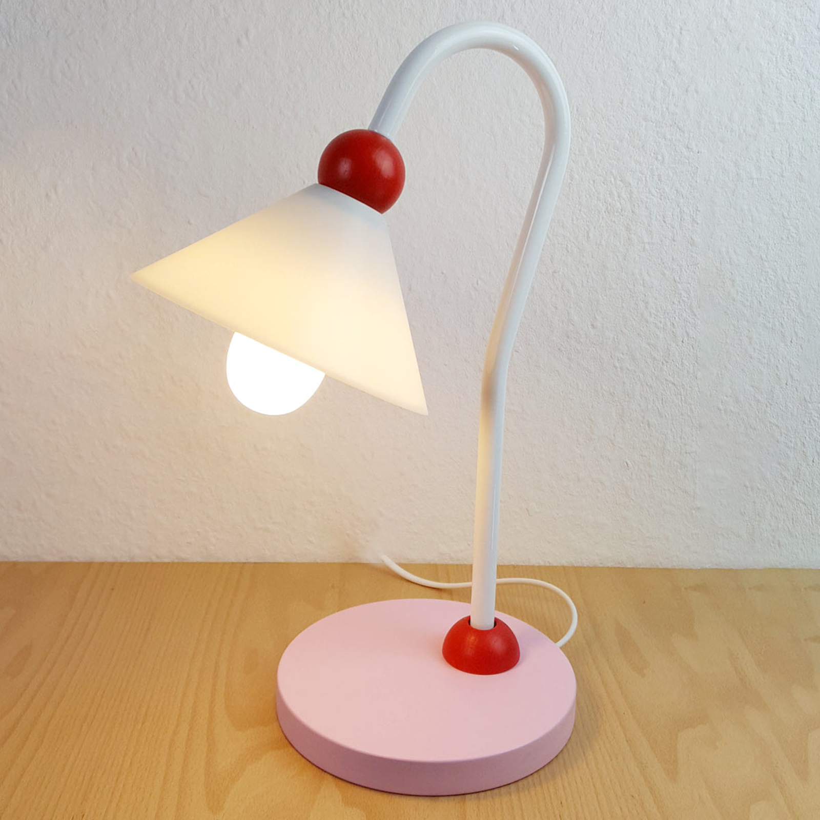 Charmante lampe à poser-liseuse Princesse, rose