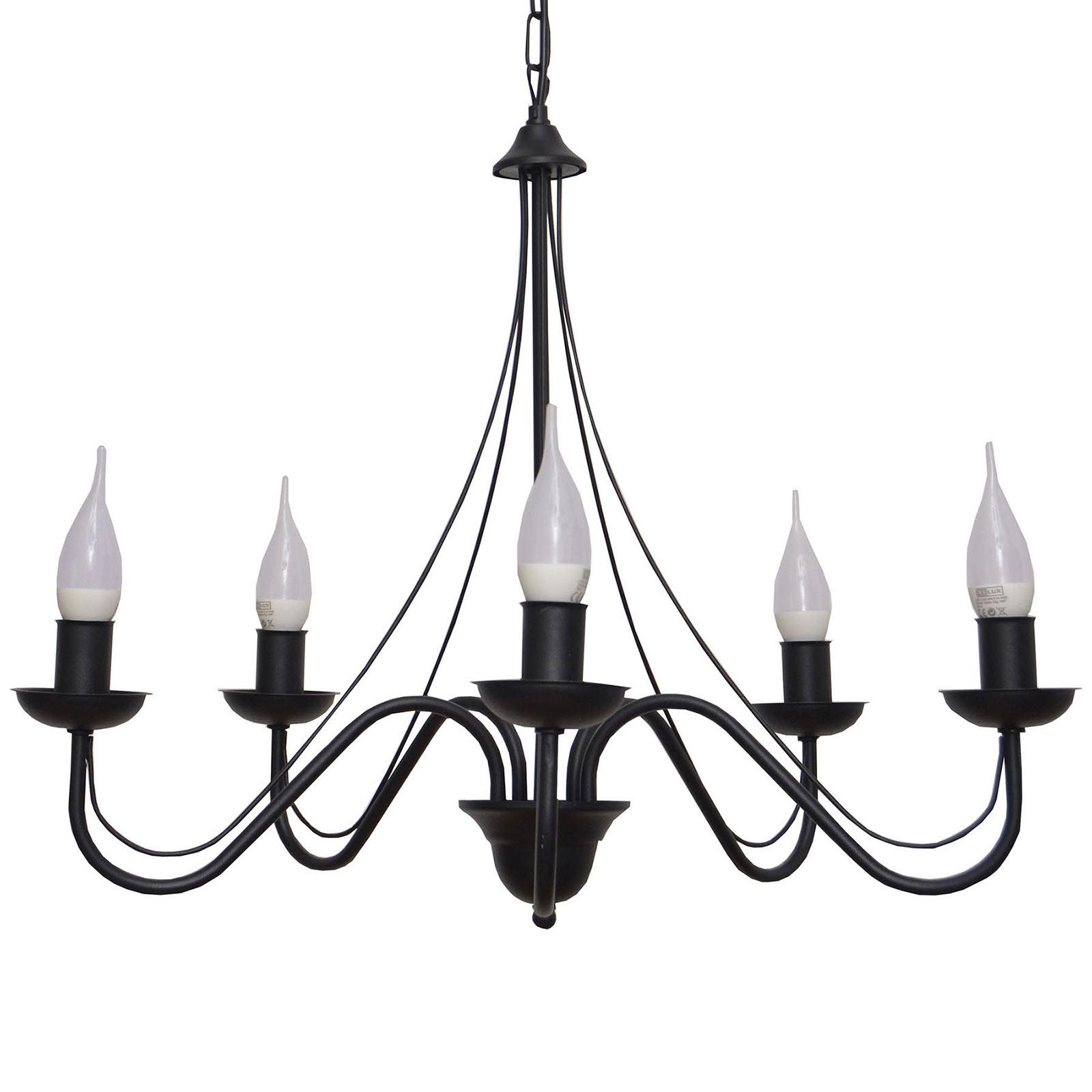 Kroonluchter Malbo 5-lamps in zwart