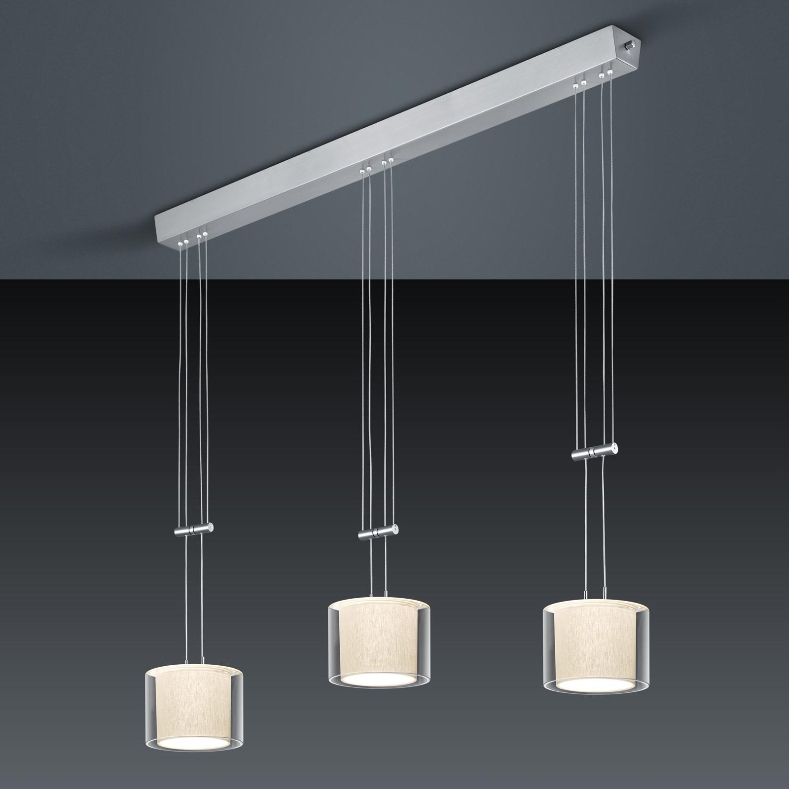 BANKAMP Cecil lampa wisząca LED, 3-punktowa