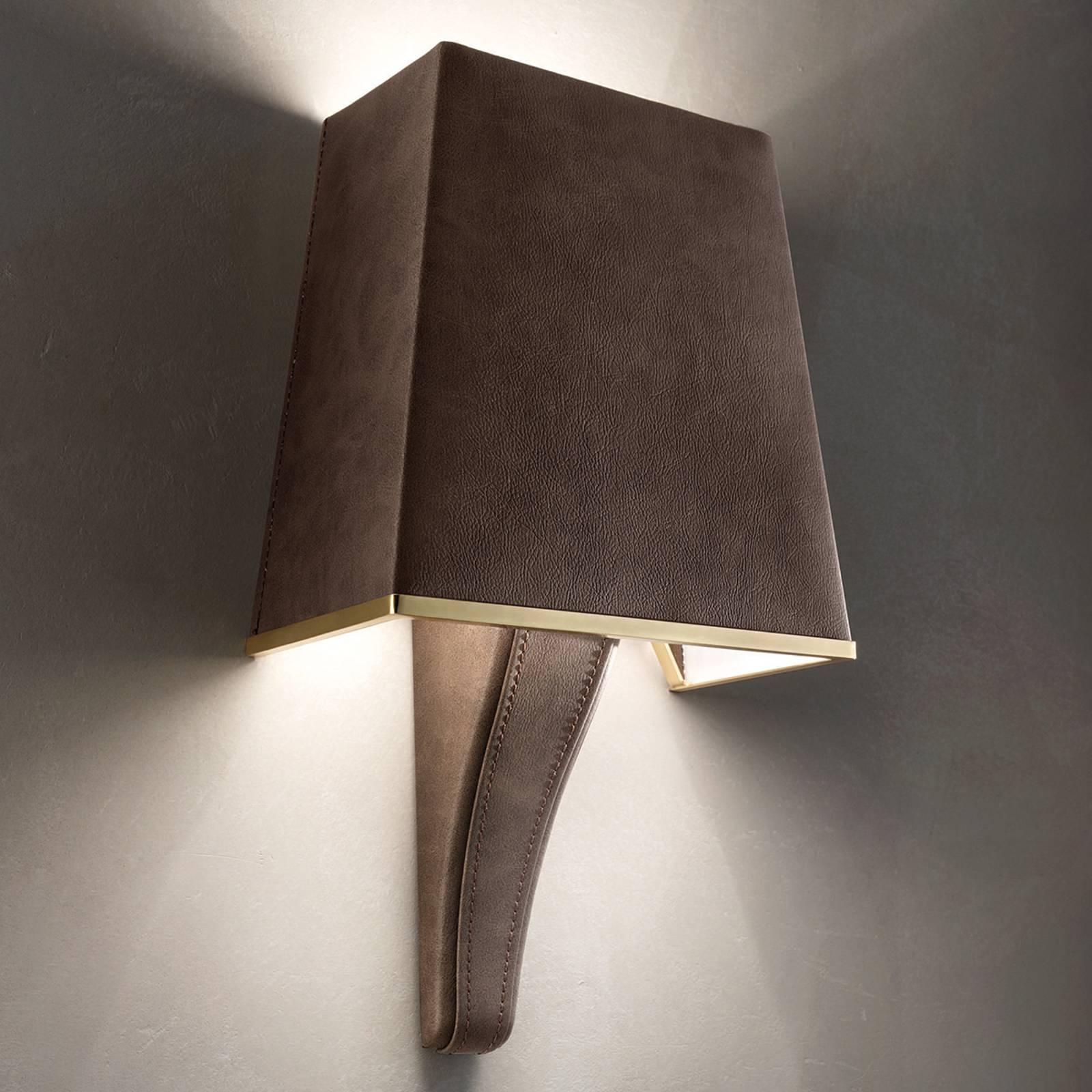 Wandlamp Darshan met kap en leren overtrek