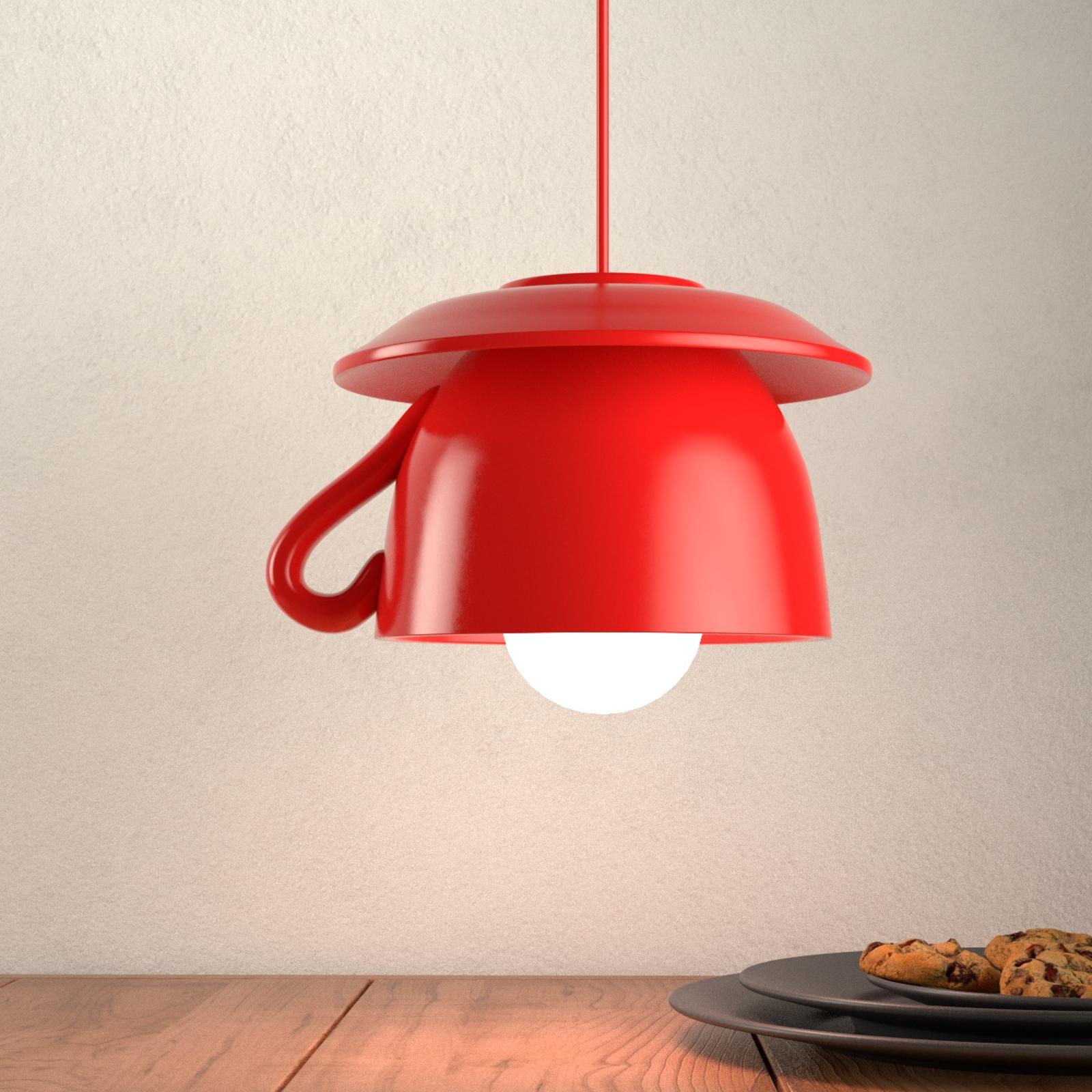 Tazza - lampada a sospensione di ceramica rossa