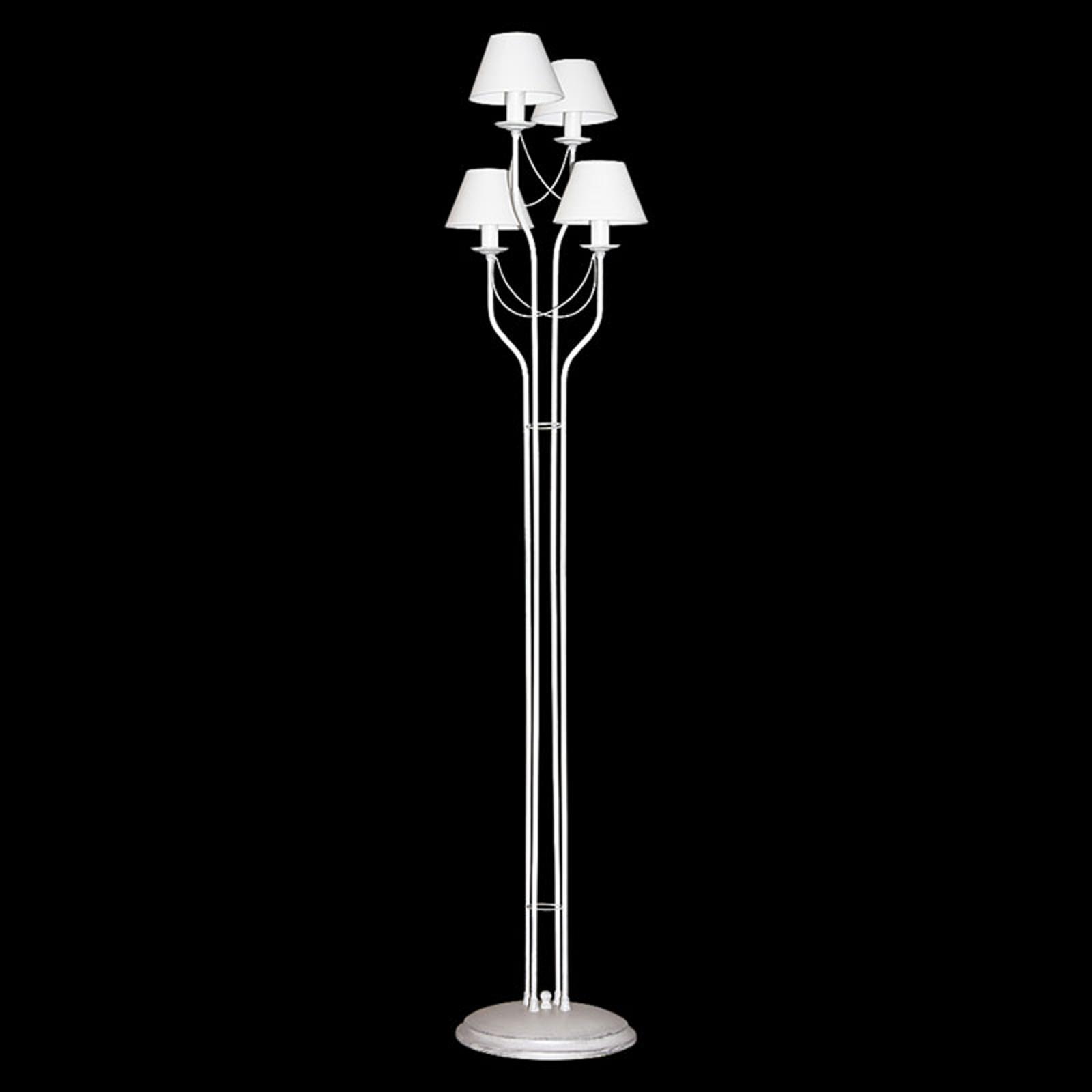 Lampa stojąca Bona z tkaniny, biała