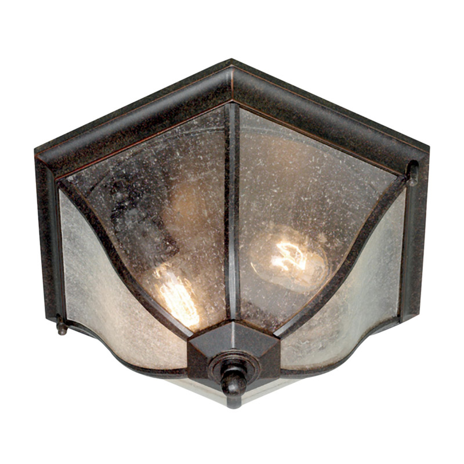 Bronskleurige buiten plafondlamp New England