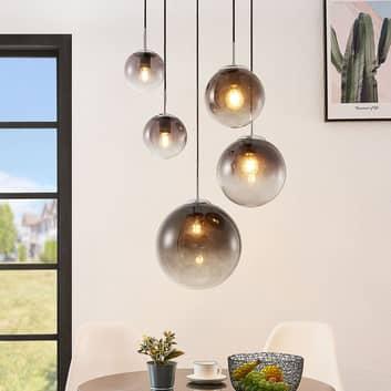 Lindby Robyn glass-pendellampe, fem lyskilder