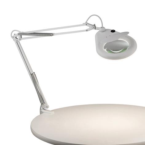 Lampa z lupą Fagernes, zaciskana, biała