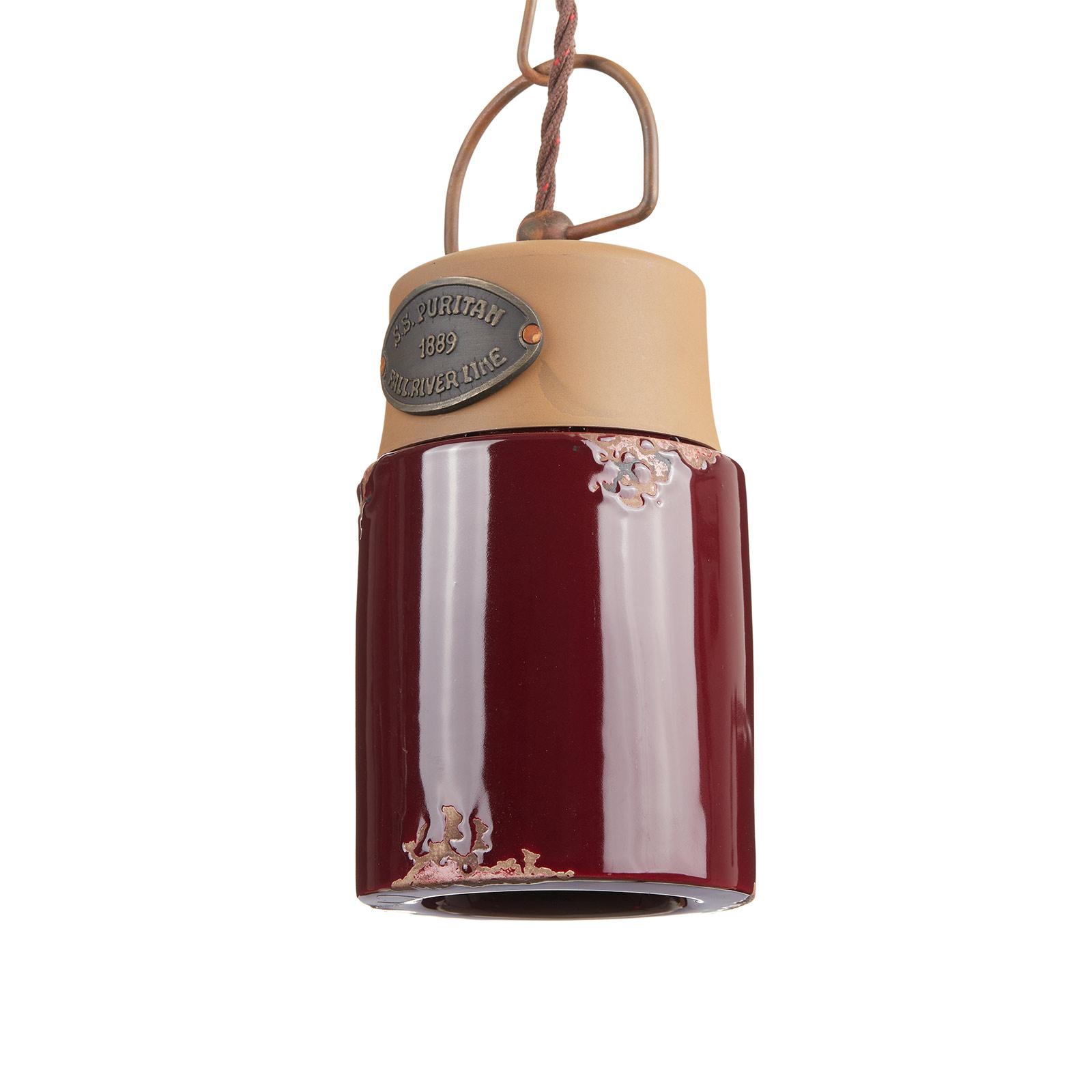 Hanglamp C1620, keramiek en metaal, bordeaux