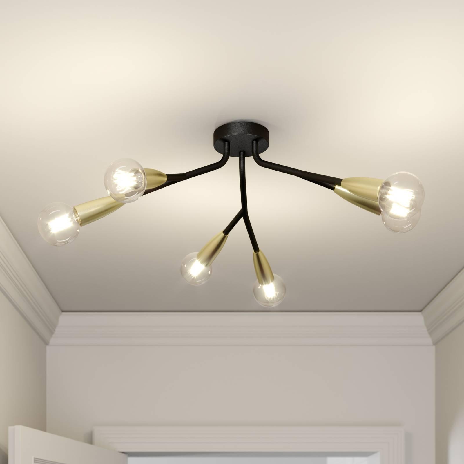 Lucande Carlea plafondlamp, 6-lamps zwart messing